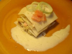 fondue de poireaux au saumon