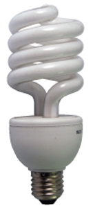 une ampoule fluorescente spiralée pour la photo et la vidéo Numérique avec ballast électronique et douille standard E – 27. Température de couleur 5200K type lumière du jour