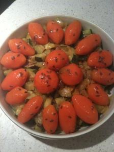 Courgette poivron et carottes glacées