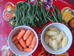 Légumes tournés carré d'agneau