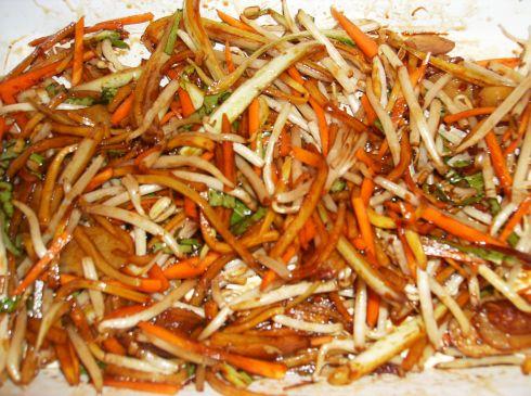 légumes marinés wok